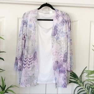 Alfred Dunner 1X Purple White Layer 3/4 Sleeve Top